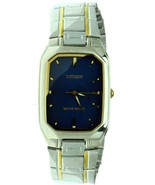 New Citizen Rectangular Stainless Steel Two Tone Case&Band Blue Face WR ... - $74.79