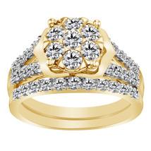 1.50 Carat White Diamond 18k Yellow Gold 925 Solid Silver Bridal Set Wedding Rin - $104.21