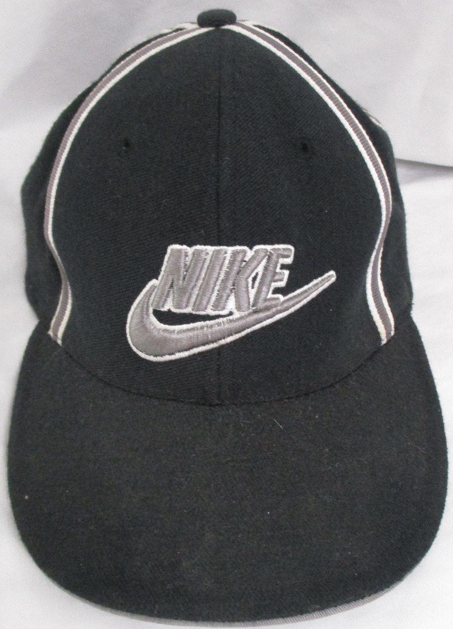 S l1600. S l1600. Previous. Vtg Hat Cap Stretch Fit Nike Black Old School  ... 2e9ae345202