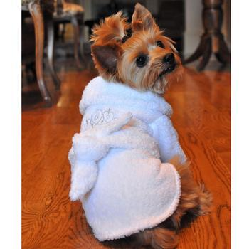 Primary image for New! Bath Robes White Gold Crown Cotton Dog Bathrobe SPA DAY REDEFINED