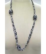 White Black Bead Beaded Multi-strand Necklace Vintage - $19.79