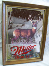 Vintage Miller Mirror Beer Sign Wisconsin Buck NOS with Box 1980s - $84.15