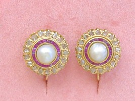 ANTIQUE VICTORIAN ROSE CUT DIAMOND PEARL RUBY HALO SCREW-ON CLIP EARRING... - $2,272.05