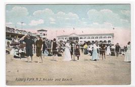 Beach Crowd & Arcade Asbury Park New Jersey 1907 postcard - $6.44
