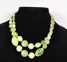Vintage West Germany Florecent Yellow Green Molded Faceted 2 Strand Neck... - $19.80
