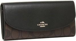 New COACH F54022 Sig PVC Crossgrain Leather Slim Envelope Wallet Brown B... - $84.99