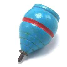 Vintage Wood Spinning Top Metal Tip Original Paint Wood Blue w Red Stripe - $19.95