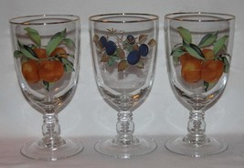 3 LRG EVESHAM Royal Worcester Fruit Plums Peaches Gold Border Water Gobl... - $36.99