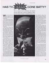 ADAM WEST 1966 BATMAN Has TV Gone Batty? magazine article - $9.99