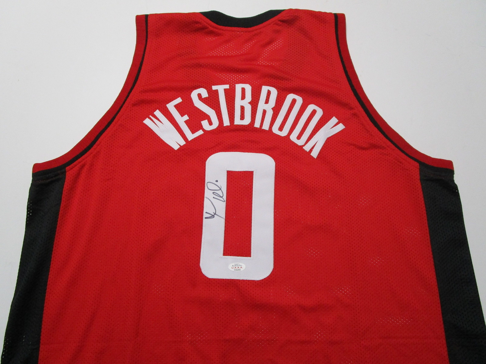 RUSSELL WESTBROOK / AUTOGRAPHED HOUSTON ROCKETS RED CUSTOM JERSEY / COA