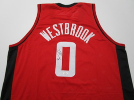 RUSSELL WESTBROOK / AUTOGRAPHED HOUSTON ROCKETS RED CUSTOM JERSEY / COA image 1
