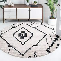 Rugs.com Morocco Collection Rug – 7 Ft Round Ivory High-Pile Rug Perfect for Kit - $189.00