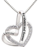 Sterling Silver Necklace I Love You For Always And Forever Love Heart Pe... - $117.31