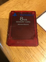 Official Sony PlayStation 2 8Mb Clear Red Memory Card MagicGate PS2 - $12.30 CAD