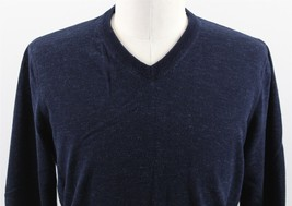 NEW J.Crew Plaited V-Neck Cotton Sweater MENS MEDIUM Heathered Blue 36236 - $34.99