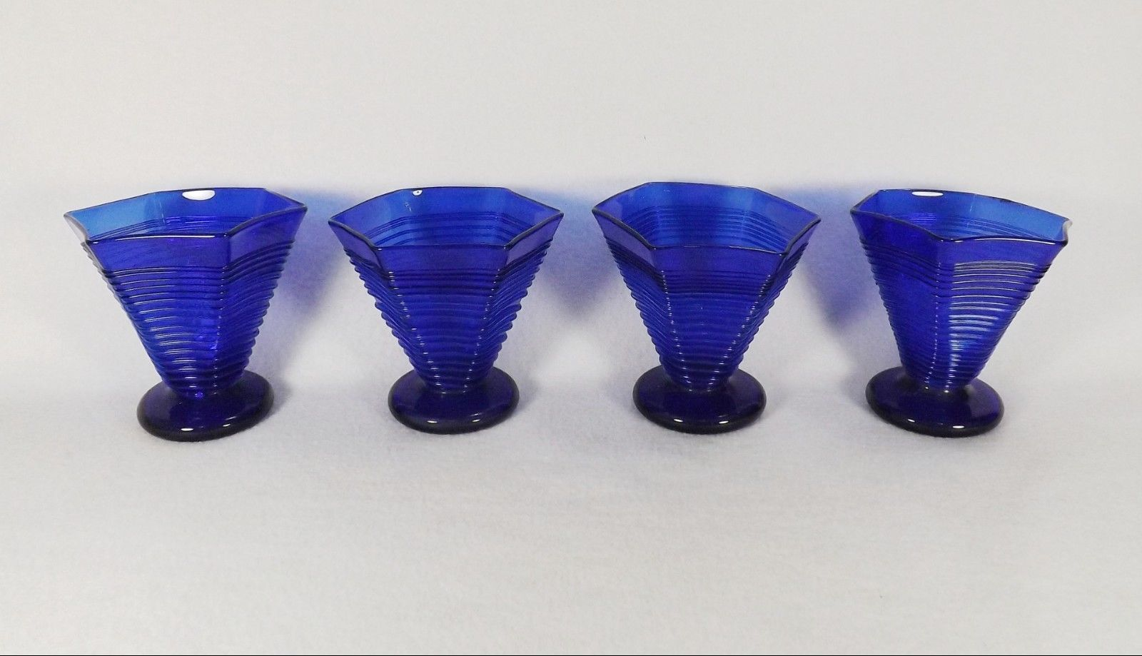 Primary image for Set of 4 Unusual  Hand Blown Cobalt Blue Six Corner Threaded Glasses