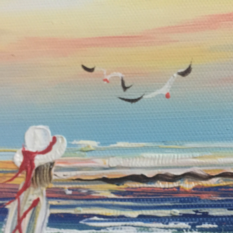 Pure handmade oil painting, The girl looked at the sea alone and thought