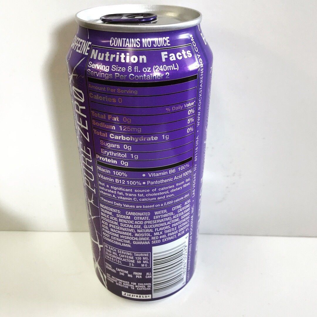 Rockstar Energy Drink Pure Zero Grape 16oz Can.This Lot Is For 1 Full Single Can