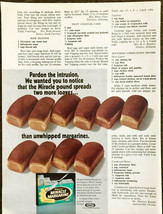 1973 Kraft Miracle Margarine PRINT AD Bread Loaves Spreading Into Page Text - $10.89
