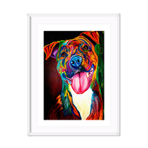 Abstract Brown Dog Canvas Inkjet Print Poster for Pitbull Dog Lover Oil ... - $4.58+