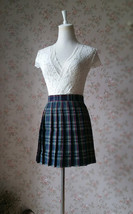 Dark Green PLAID SKIRT School Plus Size Mini Plaid Skirts Women Pleated Skirts image 3