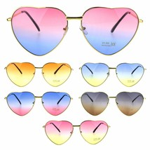 Oceanic Gradient Lens Heart Shape Valentine Love Metal Rim Sunglasses - $12.95