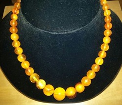 """Vintage Genuine Amber Graduated Necklace tested 18"""" 14k gold clasp - $327.25"""