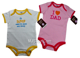 NWT I'll Sleep When I'm Good & I LOVE DAD Bodysuit 9 Months Shirt Baby Lot of 2 - $14.99