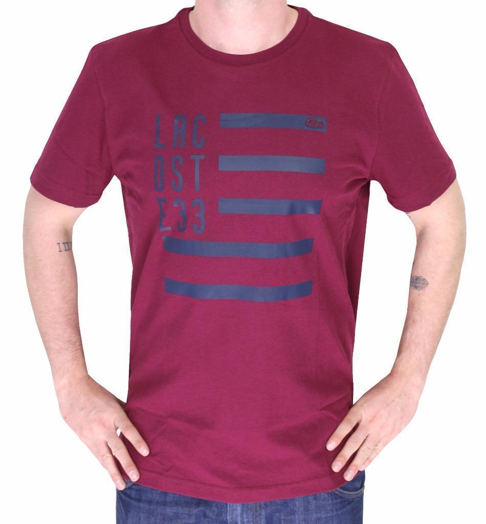 BRAND NEW LACOSTE FLAG MEN'S PREMIUM COTTON CREW NECK SHIRT TEE T-SHIRT BURGUNDY