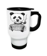 Smart Panda Smoking Art White/Steel Travel 14oz Mug w492t - $17.79
