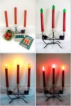 Vintage Black Metal 3 LIGHT CANDLEABRA Christmas Holiday with bulbs - $25.74