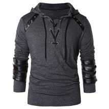 Faux Leather Lace Up Hoodie(DARK GRAY 2XL) - $29.14