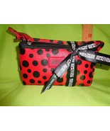 Kenneth Cole 2 PC Makeup Bag Red Black Reaction New Travel Handbag Purse - $16.33