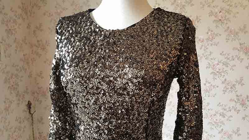 GOLD Sequin Dress Short Mini Crop Sleeve Sequined Prom Dress