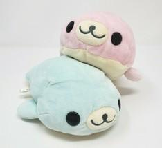 "7"" SAN-X Mamegoma Soragoma Pink & Blue Baby Seal Japan Stuffed Animal Plush Toy - $42.08"