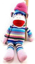 "Toysrus Rainbow Striped Sock Monkey Plush Knit Stuffed Toy 20"" RARE - $23.75"
