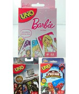 Combo Spiderman + Justice League + Barbie UNO Card Games Brand new seale... - $29.99