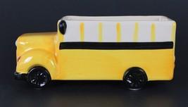 School Bus Ceramic Cookie Jar Crayon Jar Teacher Home School Gift Flower... - $15.83