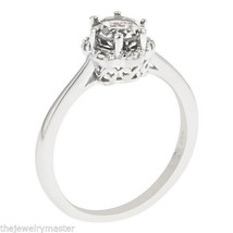 WHITE TOPAZ HALO RING BRILLIANT ROUND CUT 6mm 925 SILVER 1 CARAT 6-PRONG - £76.05 GBP
