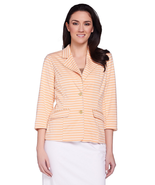 Joan Rivers Large Ponte Knit Striped Blazer with 3/4 Sleeves Peach White L - $11.99