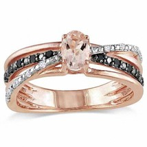 Oval-Cut Morganite, Black CZ Diamond Anniversary  Ring 14K Rose Gold Over Silver - $120.99