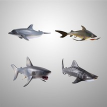 4pcs Plastic Marine Animal Ocean Creatures 6'' Dolphin White Shark Model... - £16.25 GBP