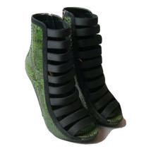 K-GU7290 New Gucci Sneak Skin Leather  Women Green Open Toe Heels Size 37 US 7 - $484.99