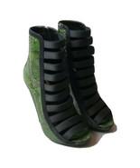 K-GU7290 New Gucci Sneak Skin Leather  Women Green Open Toe Heels Size 3... - $484.99