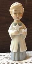 Vintage Porcelain Christmas Caroler Figurine Boy Xmas Carol Blue & White - $7.00