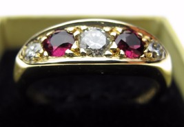 Fine 5 Stone 18 Carat Gold Ring Diamond and Ruby, Each One Third Carat Spread - $519.79