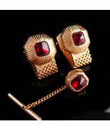 Garnet Wrap Mesh Cufflinks - Red  Rhinestone Jeweled tie tack - Birthday... - $110.00