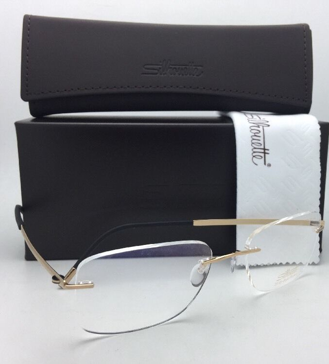 New SILHOUETTE Rimless Eyeglasses MOSAIC 5471 20 6051 55-19 145 23kt Gold Plated