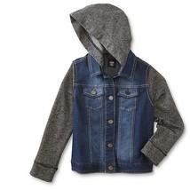 NWT ROUTE 66 Girls Hooded Denim Jacket XL 12 14 16 Knit Hood & Sleeves - $17.81