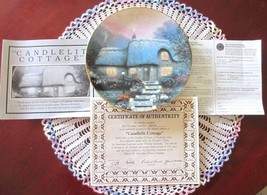 Thomas Kinkade CANDLELIT COTTAGE Plate 3rd Issue In Garden Cottages COA ... - $11.00